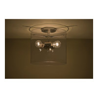 Pahu 3 Light 12 inch Satin Nickel Semi-Flush Mount Ceiling Light in Transparent Smoke Glass, Incandescent