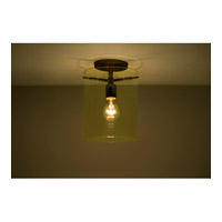 Pahu 1 Light 8 inch Bronze Semi-Flush Mount Ceiling Light in Incandescent, Transparent Gold Glass