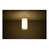 Pahu LED 8 inch Satin Nickel Semi-Flush Mount Ceiling Light in Transparent Gold/Opal Glass