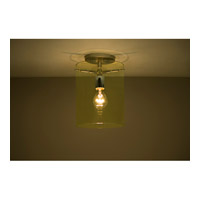 Pahu 1 Light 8 inch Satin Nickel Semi-Flush Mount Ceiling Light in Incandescent, Transparent Gold Glass