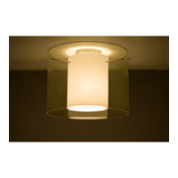 Pahu LED 16 inch Satin Nickel Semi-Flush Mount Ceiling Light in Transparent Gold/Opal Glass