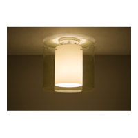 Pahu LED 12 inch Satin Nickel Semi-Flush Mount Ceiling Light in Transparent Gold/Opal Glass