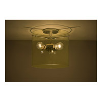 Pahu 3 Light 12 inch Satin Nickel Semi-Flush Mount Ceiling Light in Incandescent, Transparent Gold Glass