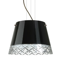 Amelia LED Bronze Pendant Ceiling Light in Black/Hand-Cut Glass