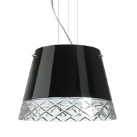 Amelia LED Satin Nickel Pendant Ceiling Light in Black/Hand-Cut Glass