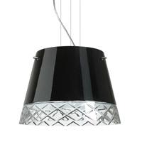 Besa Lighting Amelia LED Satin Nickel Pendant Ceiling Light in Black/Hand-Cut Glass