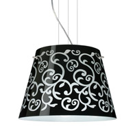 Besa Lighting Amelia LED Satin Nickel Pendant Ceiling Light in Black Damask Glass