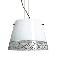 Amelia LED Bronze Pendant Ceiling Light in White/Hand-Cut Glass