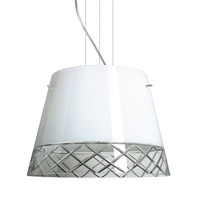 Besa Lighting Amelia LED Satin Nickel Pendant Ceiling Light in White/Hand-Cut Glass