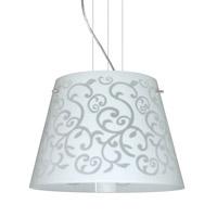 Besa Lighting Amelia LED Satin Nickel Pendant Ceiling Light in White Damask Glass