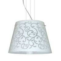 Besa Lighting Amelia 3 Light Satin Nickel Pendant Ceiling Light in White Damask Glass Halogen