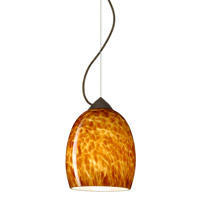 Besa Lighting 1KX-169718-BR Lucia 1 Light Bronze Pendant Ceiling Light in Amber Cloud Glass Incandescent