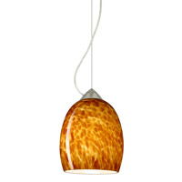 Besa Lighting 1KX-169718-SN Lucia 1 Light Satin Nickel Pendant Ceiling Light in Amber Cloud Glass Incandescent