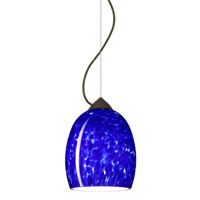 Besa Lighting 1KX-169786-BR Lucia 1 Light Bronze Pendant Ceiling Light in Blue Cloud Glass Incandescent