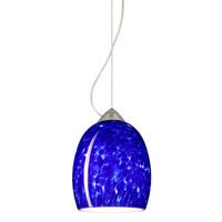 Besa Lighting 1KX-169786-LED-SN Lucia LED Satin Nickel Pendant Ceiling Light in Blue Cloud Glass