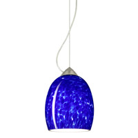 Besa Lighting 1KX-169786-SN Lucia 1 Light Satin Nickel Pendant Ceiling Light in Blue Cloud Glass Incandescent