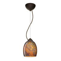 Besa Lighting 1KX-1697CE-BR Lucia 1 Light Bronze Pendant Ceiling Light in Ceylon Glass, Incandescent alternative photo thumbnail
