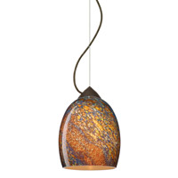 Besa Lighting 1KX-1697CE-BR Lucia 1 Light Bronze Pendant Ceiling Light in Ceylon Glass Incandescent