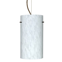 Besa Lighting Tondo 1 Light Bronze Pendant Ceiling Light in Carrera Glass Incandescent