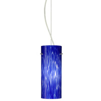 Besa Lighting Stilo LED Satin Nickel Pendant Ceiling Light in Blue Cloud Glass