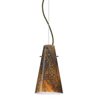 Besa Lighting 1KX-4124CE-BR Cierro 1 Light Bronze Pendant Ceiling Light in Ceylon Glass Incandescent