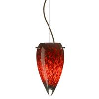 Besa Lighting 1KX-412541-BR Juli 1 Light Bronze Pendant Ceiling Light in Garnet Glass Incandescent