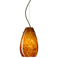 Besa Lighting 1KX-412618-BR Pera 1 Light Bronze Pendant Ceiling Light in Amber Cloud Glass, Incandescent