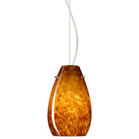 Besa Lighting 1KX-412618-SN Pera 1 Light Satin Nickel Pendant Ceiling Light in Amber Cloud Glass, Incandescent