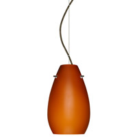 Besa Lighting 1KX-412680-BR Pera 1 Light Bronze Pendant Ceiling Light in Amber Matte Glass, Incandescent