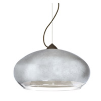 Besa Lighting Brio 1 Light Bronze Pendant Ceiling Light in Silver Foil Glass Halogen