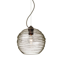 Wave 1 Light Bronze Pendant Ceiling Light in Smoke Wave Glass