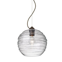 Wave 1 Light Bronze Pendant Ceiling Light in Clear Wave Glass