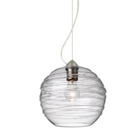 Wave 1 Light Satin Nickel Pendant Ceiling Light in Clear Wave Glass