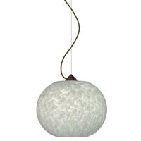 Besa Lighting 1KX-477619-BR Luna 1 Light Bronze Pendant Ceiling Light in Carrera Glass Incandescent