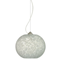 Besa Lighting 1KX-477619-SN Luna 1 Light Satin Nickel Pendant Ceiling Light in Carrera Glass Incandescent