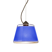 Besa Lighting Pica 1 Light Bronze Pendant Ceiling Light in Blue Sand Glass Incandescent