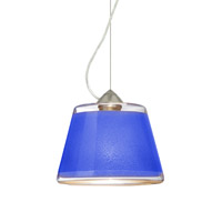 Besa Lighting Pica 1 Light Satin Nickel Pendant Ceiling Light in Blue Sand Glass Incandescent