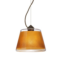 Besa Lighting Pica 1 Light Bronze Pendant Ceiling Light in Gold Sand Glass Incandescent
