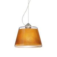 Besa Lighting Pica 1 Light Satin Nickel Pendant Ceiling Light in Gold Sand Glass Incandescent