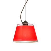 Besa Lighting Pica 1 Light Bronze Pendant Ceiling Light in Red Sand Glass Incandescent