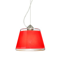 Besa Lighting Pica 1 Light Satin Nickel Pendant Ceiling Light in Red Sand Glass Incandescent