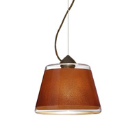 Besa Lighting Pica 1 Light Bronze Pendant Ceiling Light in Tan Sand Glass Incandescent