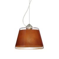 Besa Lighting Pica 1 Light Satin Nickel Pendant Ceiling Light in Tan Sand Glass Incandescent