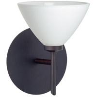 Besa Lighting 1SW-174307-BR Domi 1 Light 5 inch Bronze Mini Sconce Wall Light in Halogen White Glass