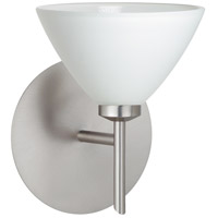 Besa Lighting 1SW-174307-LED-SN Domi LED 5 inch Satin Nickel Mini Sconce Wall Light in White Glass