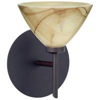 Besa Lighting 1SW-174383-LED-BR Domi LED 5 inch Bronze Mini Sconce Wall Light in Mocha Glass