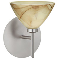 Besa Lighting 1SW-174383-LED-SN Domi LED 5 inch Satin Nickel Mini Sconce Wall Light in Mocha Glass