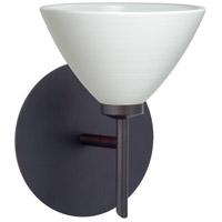 Besa Lighting 1SW-1743KR-BR Domi 1 Light 5 inch Bronze Mini Sconce Wall Light in Halogen Chalk Glass