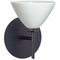 Besa Lighting 1SW-1743KR-LED-BR Domi LED 5 inch Bronze Mini Sconce Wall Light in Chalk Glass