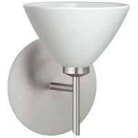Besa Lighting 1SW-1743KR-LED-SN Domi LED 5 inch Satin Nickel Mini Sconce Wall Light in Chalk Glass